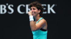 Carla Suárez celebra su victoria frente a Kontaveit. (Getty)