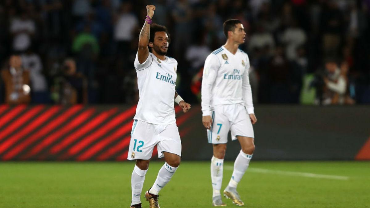 Marcelo celebra un triunfo del Real Madrid (Getty).