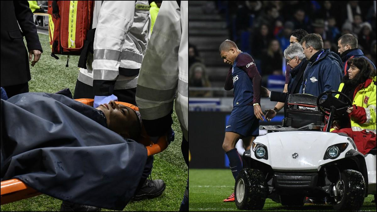 Mbappé, tras sufrir el golpe en el Lyon vs PSG. (AFP)