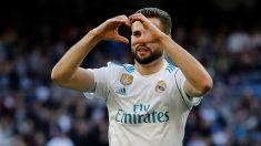 Nacho celebra su gol ante el Deportivo. (EFE)