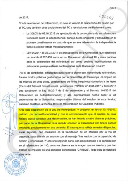 La Guardia Civil acusa a la Generalitat de torpedear la investigación en pleno 155