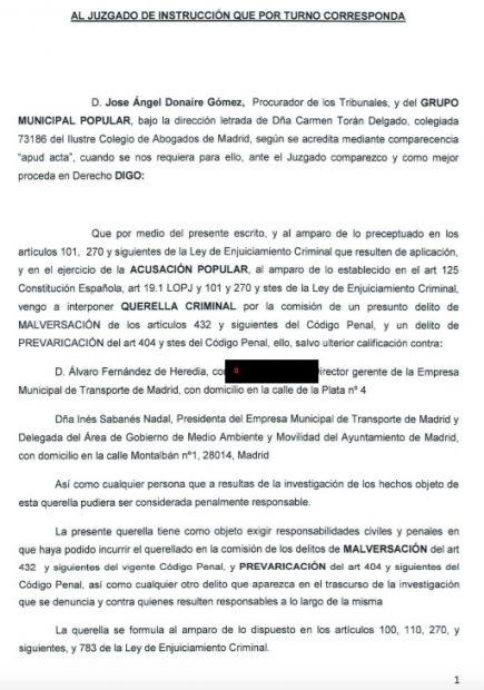 El PP registra su querella contra Sabanés y el gerente de EMT por malversación en la compra de Bicimad