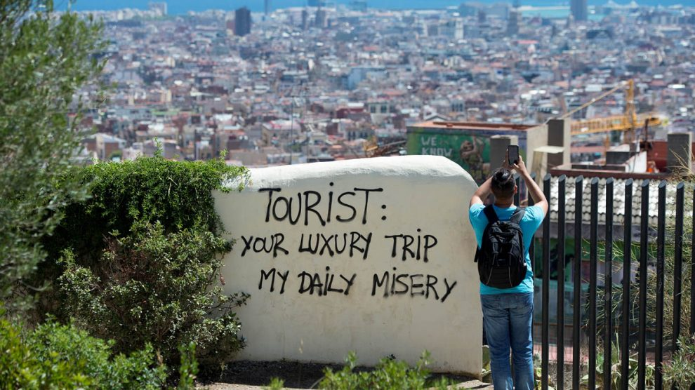 Turismofobia en Barcelona (Foto: AFP)