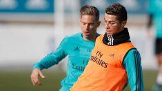 Cristiano y Llorente, en el entrenamiento de este martes.