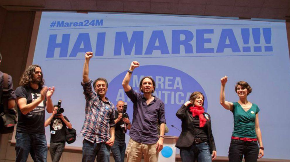 Pablo Iglesias (Podemos) y Xulio Ferreiro (Marea Atlántica)