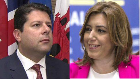 El ministro principal de Gibraltar, Fabian Picardo, y la presidenta andaluza, Susana Díaz.
