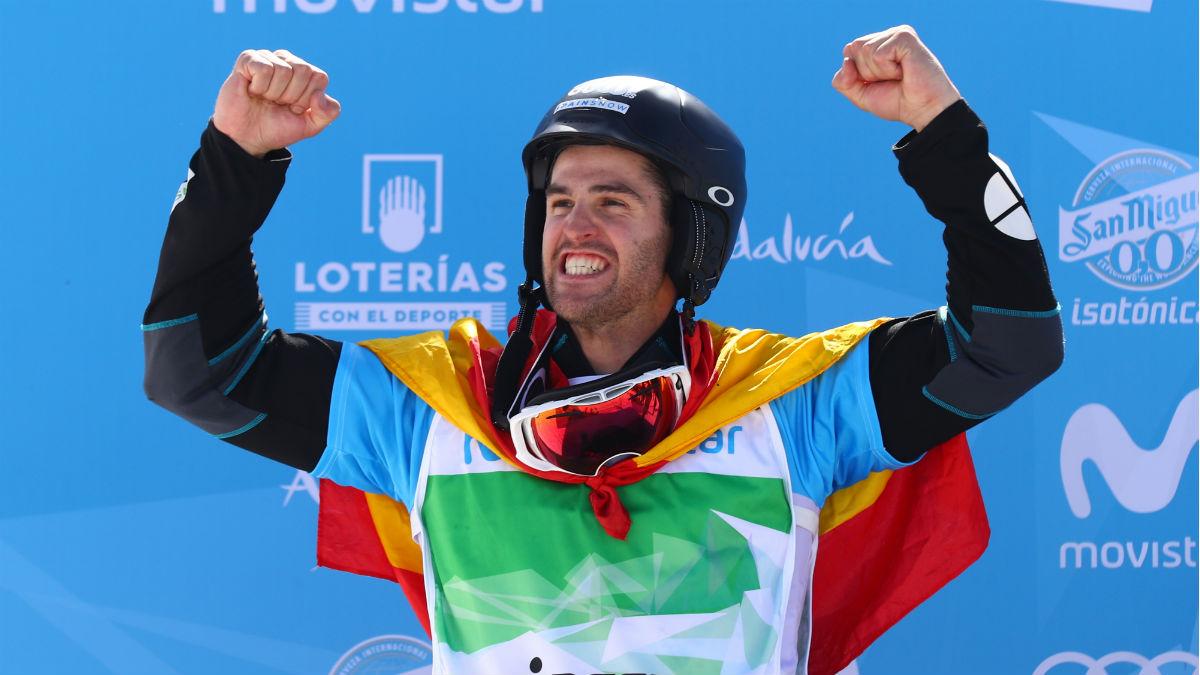 Lucas Eguibar, durante el mundial de snowboard. (Getty)