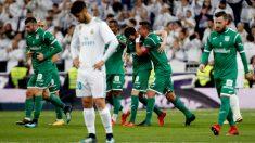 Los jugadores del Leganés celebran el 0-1. (EFE)