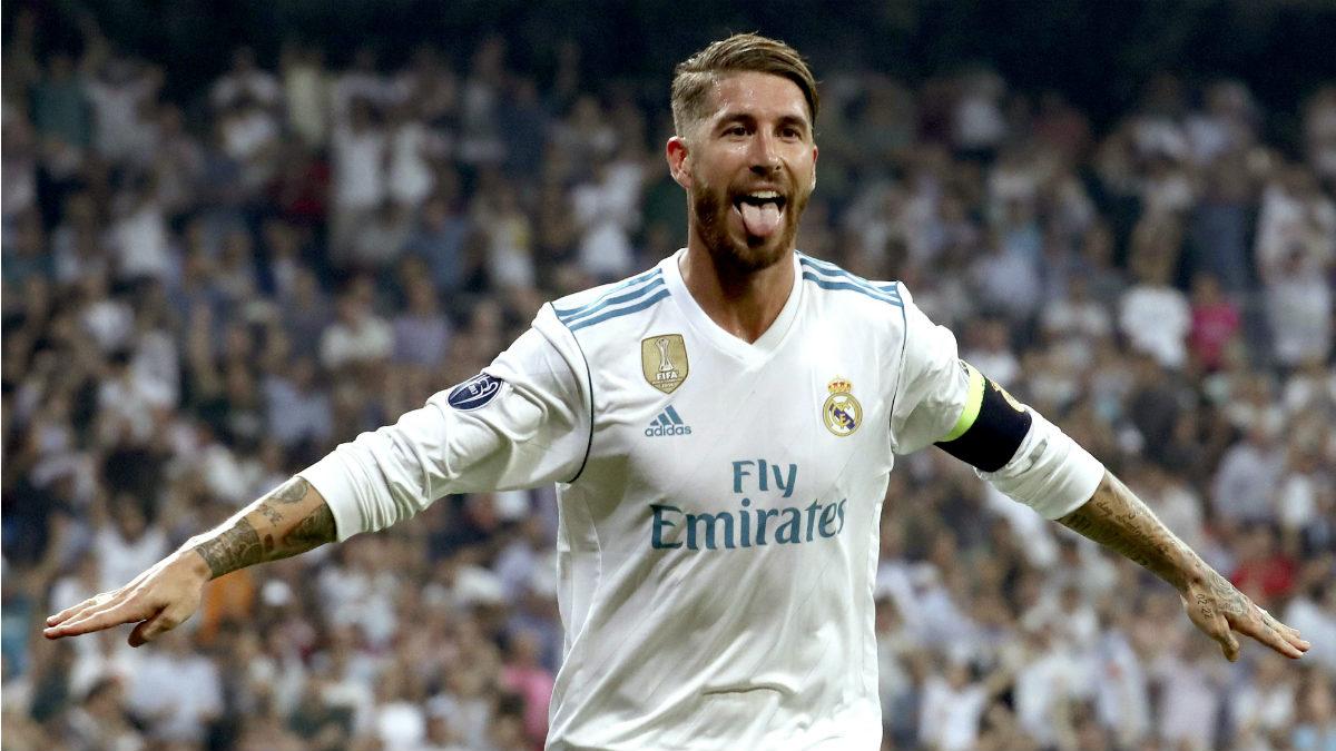 Sergio Ramos celebra un gol con el Real Madrid. (AFP)