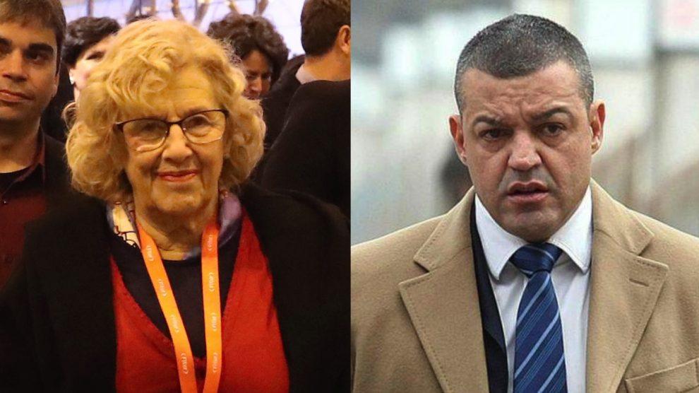 La alcaldesa de Manuela Carmena y el condenado Miguel Ángel Flores. (Fotos: Madrid / EFE)