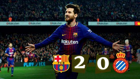 Leo Messi celebra el gol que dio el pase al Barcelona.