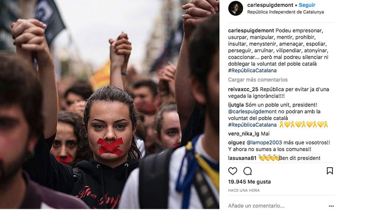 Post en Instagram desde la cuenta de Carles Puigdemont.