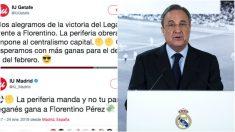 Tuits de Izquierda Unida contra el Real Madrid y Florentino Pérez.