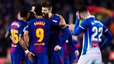 El Barcelona celebra un gol ante el Espanyol. (Getty)