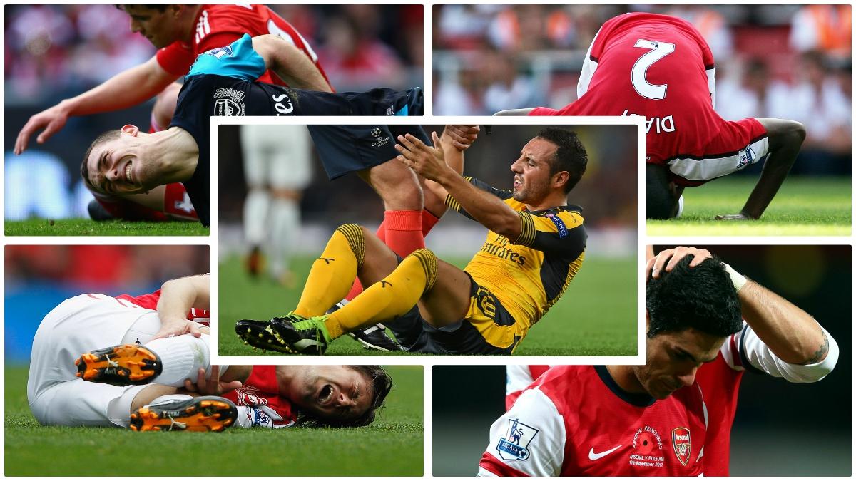 Los jugadores del Arsenal que han sufrido muchas lesiones. (Fotos: Getty Images y AFP)