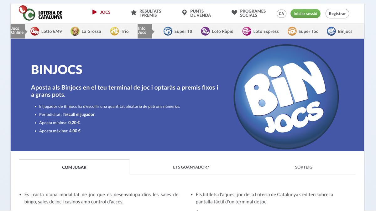 Web de 'Binjocs'.