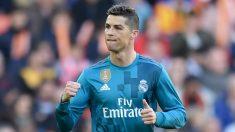 Cristiano celebra su gol en Valencia. (Getty)
