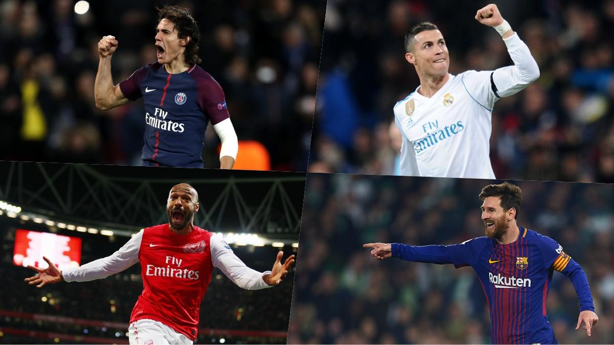 Cavani, Cristiano, Henry y Messi, máximos goleadores de la historia de sus equipos.