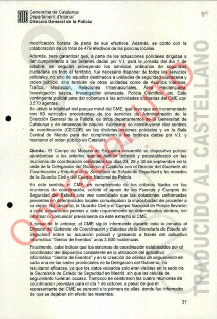 Trapero tacha de chapuceros y descontrolados al Gobierno, a la Guardia Civil y a la Policía en su relato del 1-O