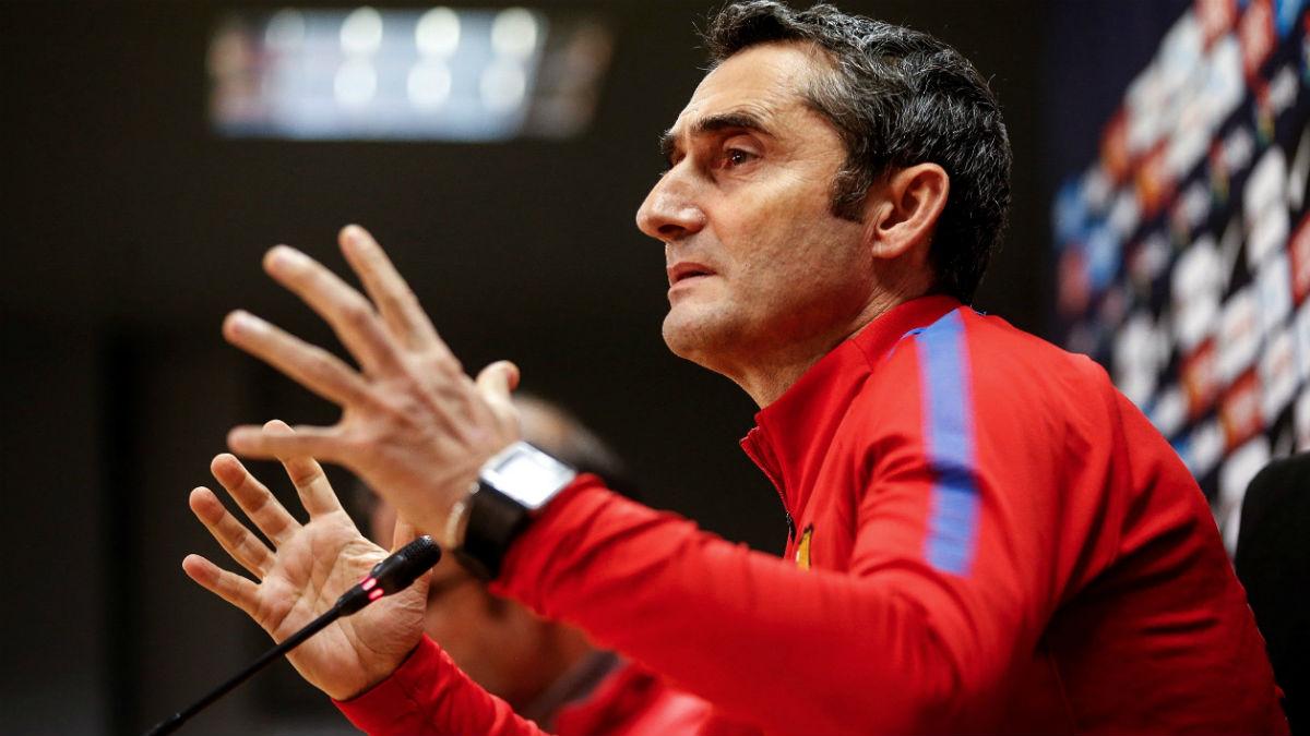 Valverde analiza el choque ante el Alavés. (EFE)