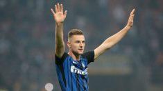 Milan Skriniar celebra una victoria del Inter de Milán (Getty).