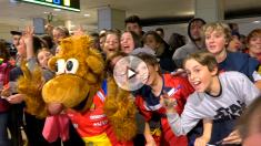 Locura en el recibimiento de los Hispanos tras ganar el Europeo de balonmano 2018