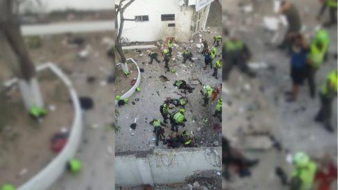 Imagen del atentado perpetrado por el ELN en una comisaría de Barranquilla (Colombia). OKD