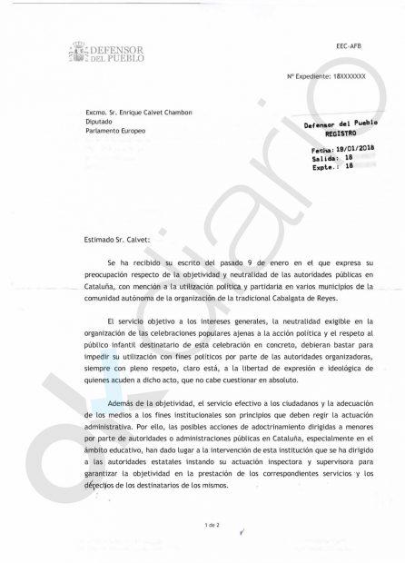 El Defensor del Pueblo denuncia la pasividad del Gobierno ante el adoctrinamiento en Cataluña