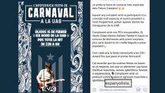 Cartel de la fiesta de Carnaval de la UAB
