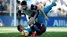 Guedes, en acción frente al Real Madrid. (EFE)