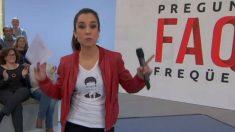 La presentadora de TV3 con una camiseta de Puigdemont