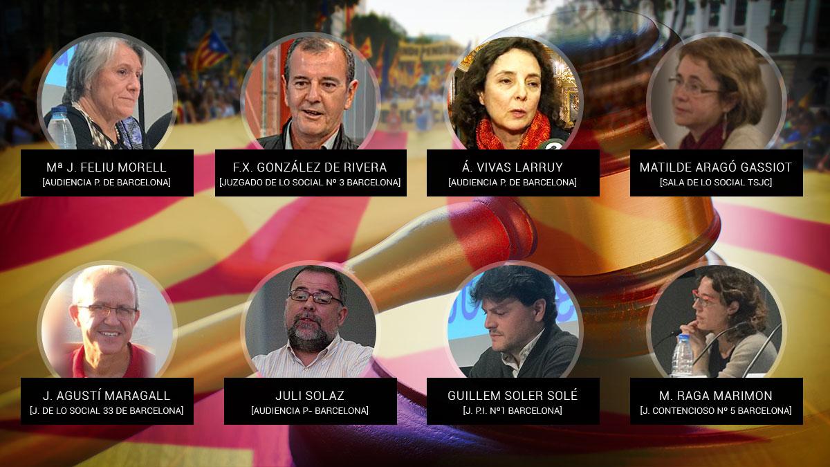 Los ocho jueces que han fundado la asociación independentista Ágora Judicial.