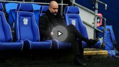 Guardiola en el banquillo del Cardiff City. (Getty)