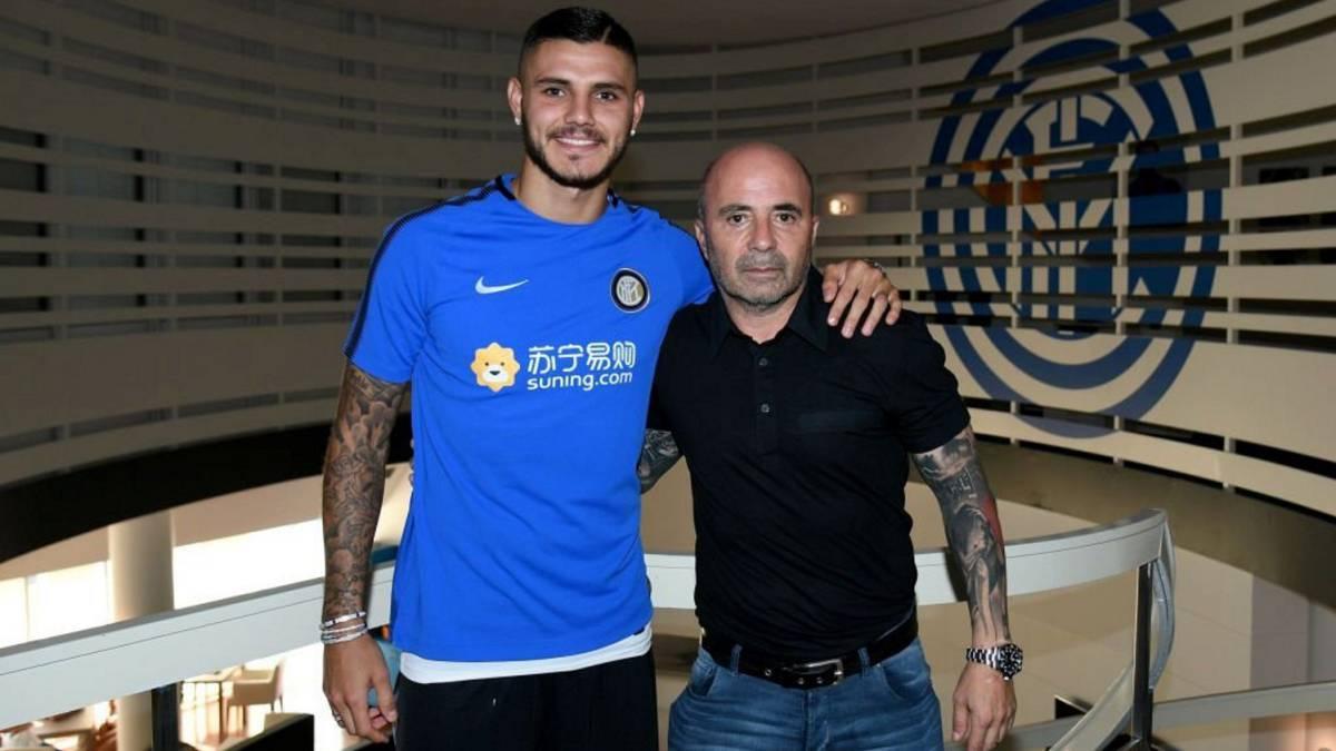 Icardi y Sampaoli en Milán.