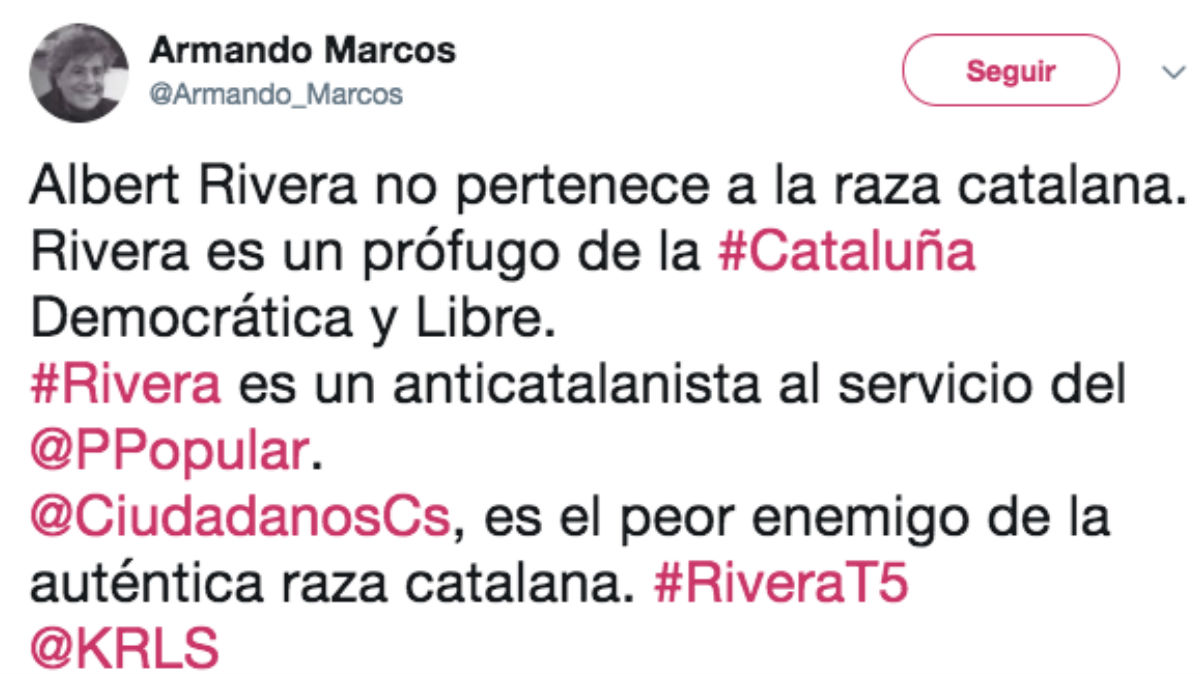 El tuit del periodista Armando Marcos en el que arremete contra el líder de Ciudadanos, Albert Rivera
