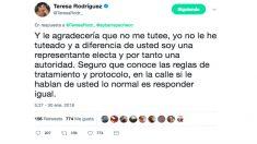 'Tuit' de Teresa Rodríguez, líder de Podemos en Andalucía.