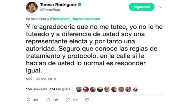 """Teresa Rodríguez exige que nadie la tutee y se le hable de usted porque """"soy autoridad"""""""