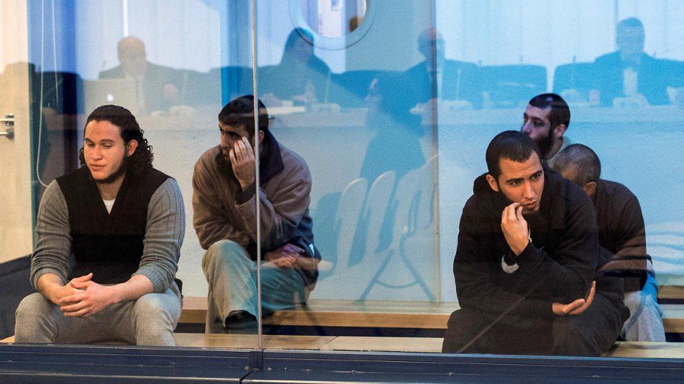 Los acusados de formar una célula yihadista para atentar en Barcelona, durante el juicio en la Audiencia Nacional. (EFE)