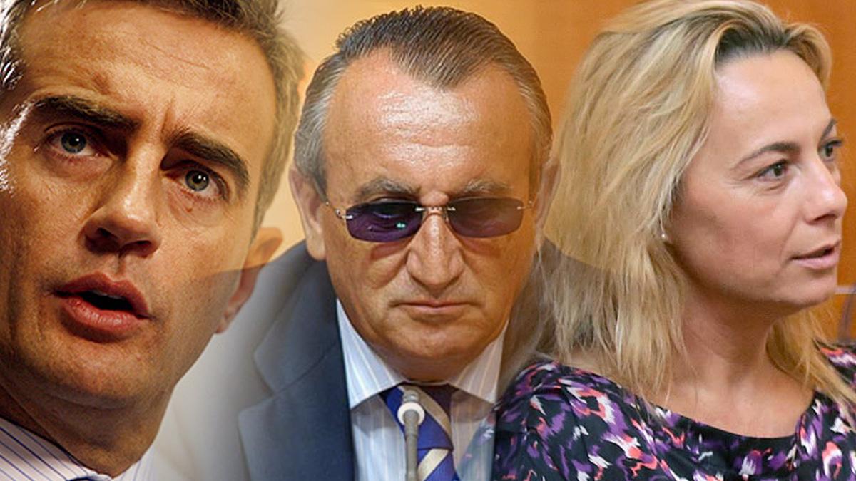 El ex secretario general del PP valenciano, Ricardo Costa, el expresidente de la Diputación de Castellón, Carlos Fabra y la exalcaldesa de Alicante, Sonia Castedo.