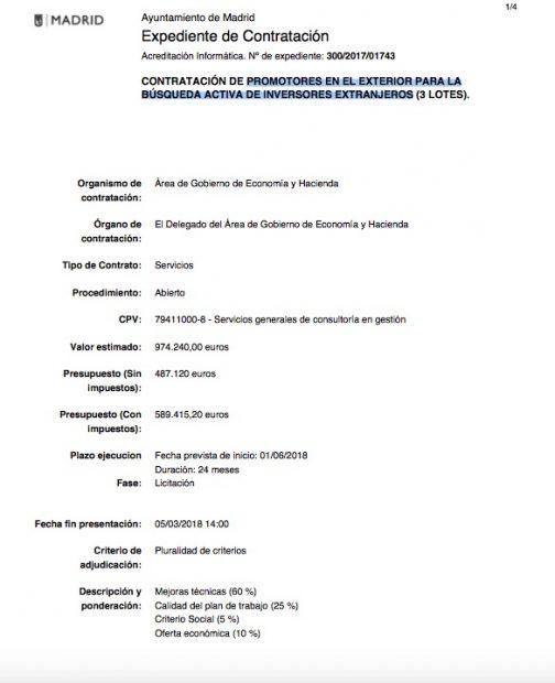 Carmena destina entre críticas del ala 'anticapi' un millón a empresas de atraer inversión extranjera