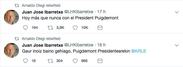 Otegi e Ibarreche salen en apoyo de Puigdemont ahora que hasta los suyos le dejan en la estacada