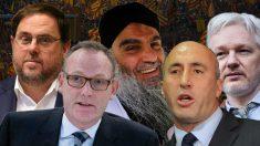 Oriol Junqueras, su abogado Ben Emmerson y algunos de sus clientes: el clérigo yihadista Abu Qatada, el primer ministro de Kosovo Ramush Haradinaj y Julian Assange.