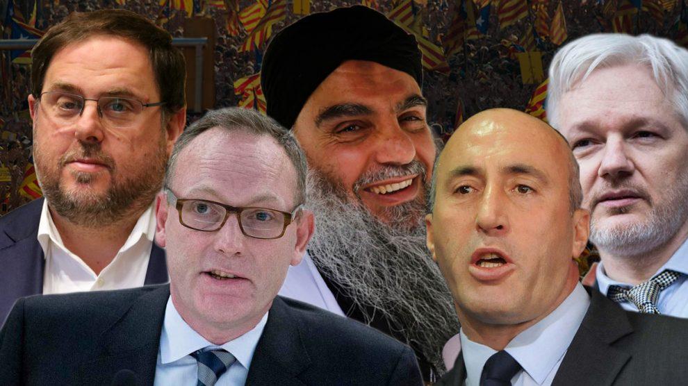 Oriol Junqueras, su abogado ben Emmerson, el clérigo yihadista Abu Qatada, el primer ministro de Kosovo Ramush Haradinaj y Julian Assange.