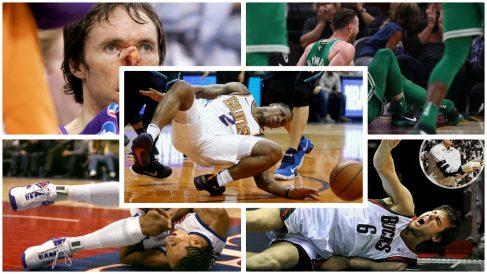 Las lesiones más espeluznantes de la NBA. (Fotos: Twitter, Getty Images, AFP…)