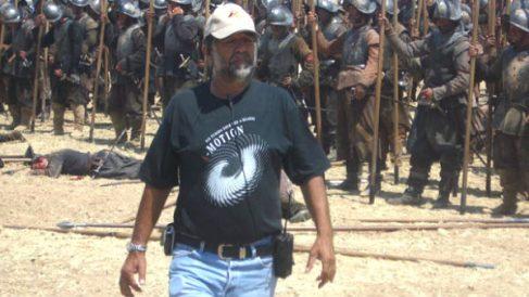 Reyes Abades en el rodaje de una película.