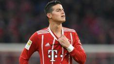 James Rodríguez durante un partido del Bayern esta temporada. (AFP)