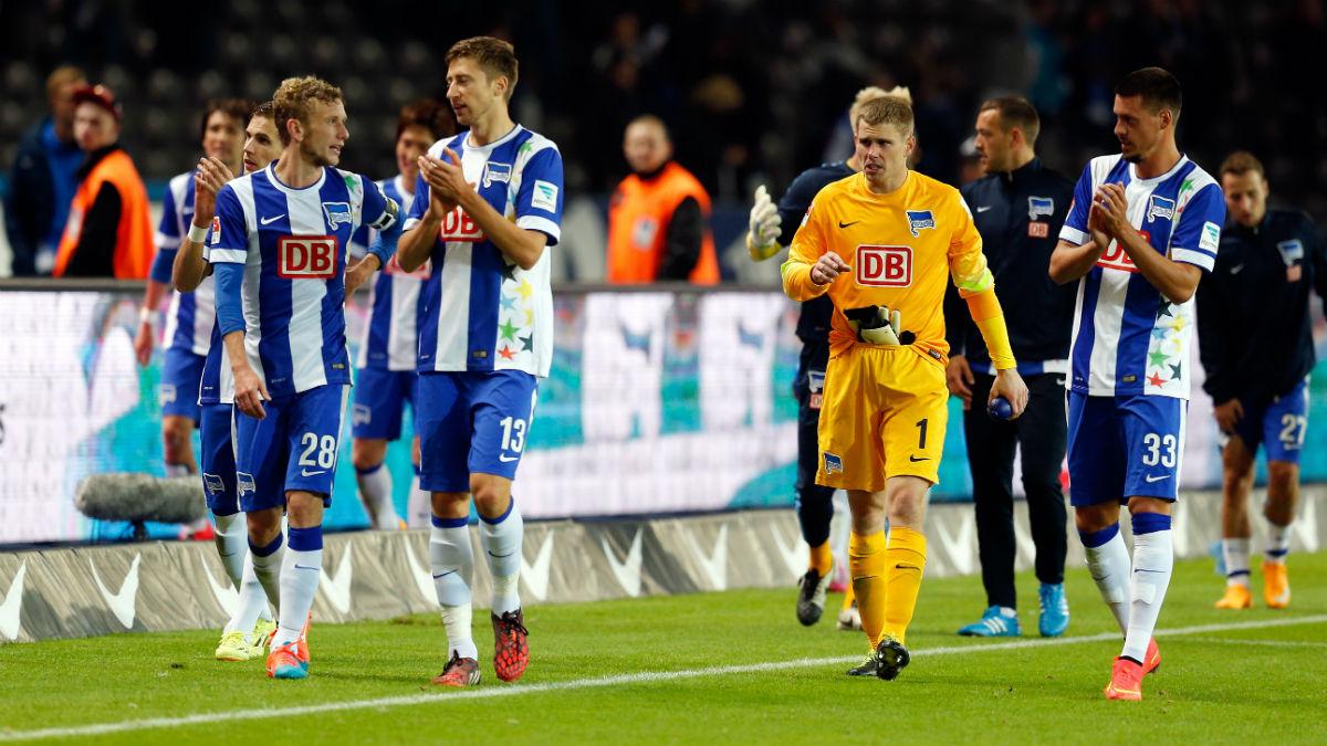 Los futbolistas del Hertha de Berlín celebran un triunfo frente al Wolfsburgo. (Getty)