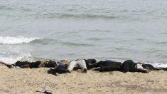 Cadáveres en la costa de Libia tras un naufragio. (Foto: AFP)