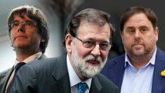 Carles Puigdemont, Mariano Rajoy y Oriol Junqueras.