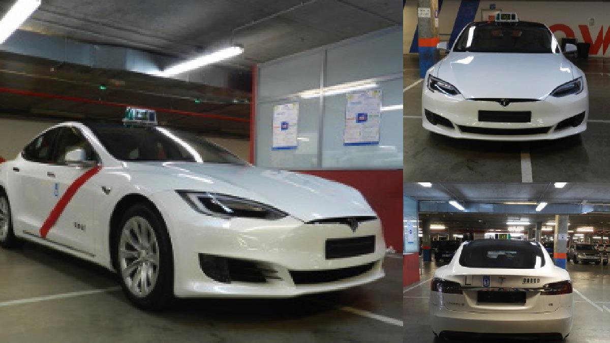 Taxi marca Tesla en Madrid.